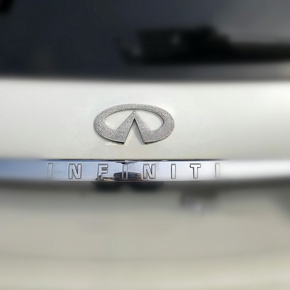 INFINITI Bling LOGO Front or Rear Grille Emblem LOGO decal Made w/ Rhinestone Crystals