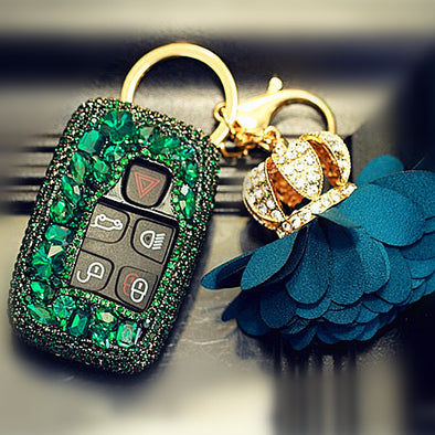 Emerald Green Rhinestone Jaguar XF Discovery Range Rover Land Rover Bling Car Key Holder FOB