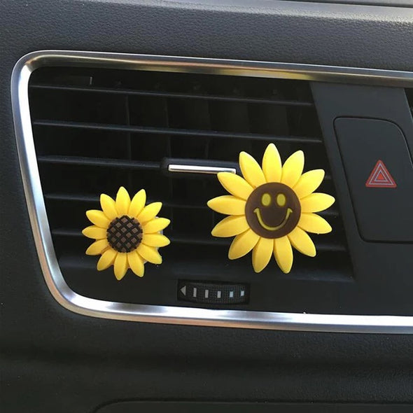 Bling Your Ride-Set of 2 Sunflowers Smiley Face Car Air Vent Decoration with Freshener DIY clip
