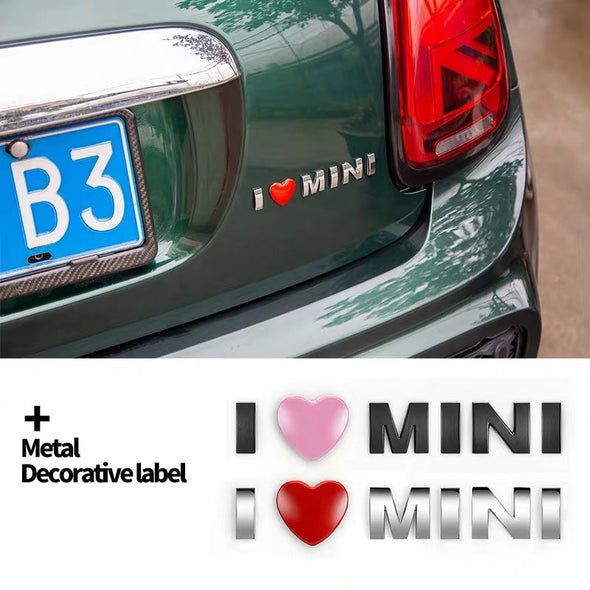 3D Chrome Metal  Mini Cooper Decal I love mini Sticker