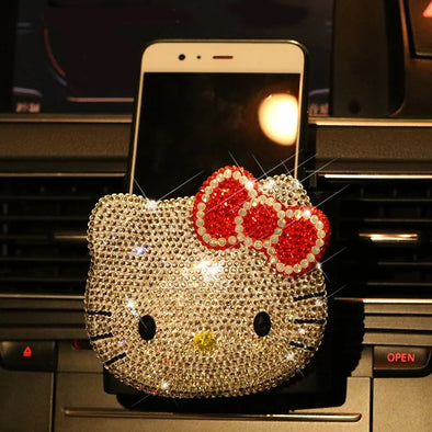 Bling Kitty Cat Car Air Vent Cell phone holder
