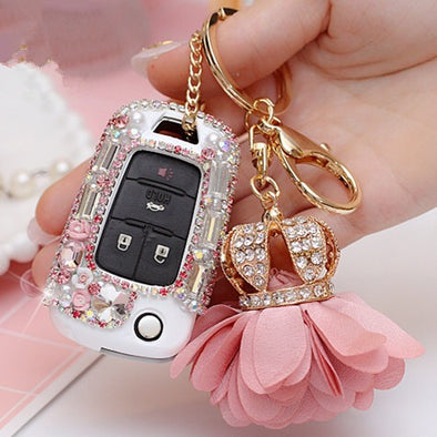 Bling Car Key Holder with Rhinestones for Chevy Buick GL8 - Pink