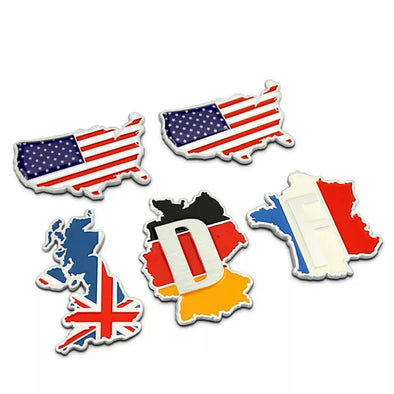 3D Chrome Metal MAP Car Decal Sticker -USA, UK, France, Germany