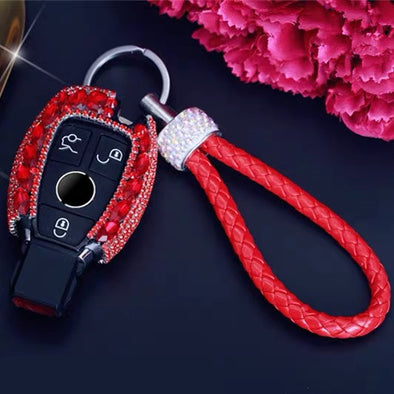 Red Hot Mercedes Benz Bling Car Key Holder with Rhinestones and flowers