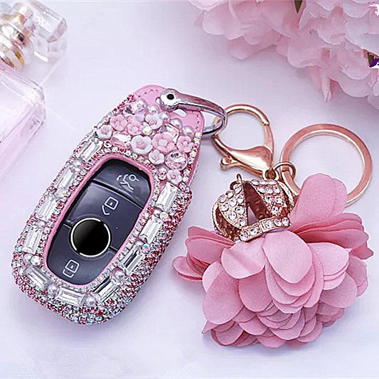 Bling NEW 2018 2019 Mercedes Benz E C S Class Car Key FOB with Rhinestones  - Pink Green Red -