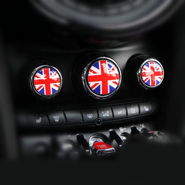 Mini Cooper AC Control Buttons 3D Crystal Sticker Decal -Jack Union British Flag Checker