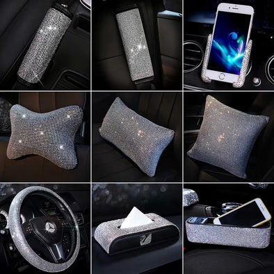 Bedazzled Bling Car Accessories -Neck Pillow Visor Organizor Tissue box Gear shift braker cover Steering Wheel cover