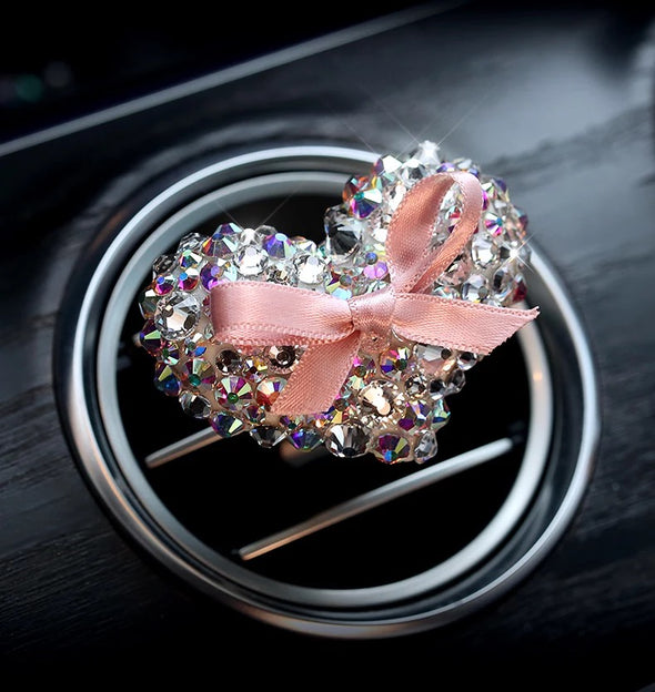 Bling Heart Shaped Car Air Vent Crystal Rhinestones Decoration with Freshener