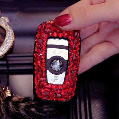 Hot Red Bling Car Key Holder with Rhinestones for BMW 3, 5, 7