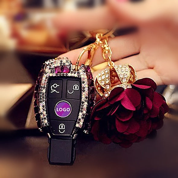 Bling Car Key Holder with Rhinestones for Mercedes Benz