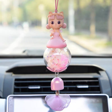 Pretty Angel Doll with Crystal ball car charm pendant - Cute Decor for rearview mirror