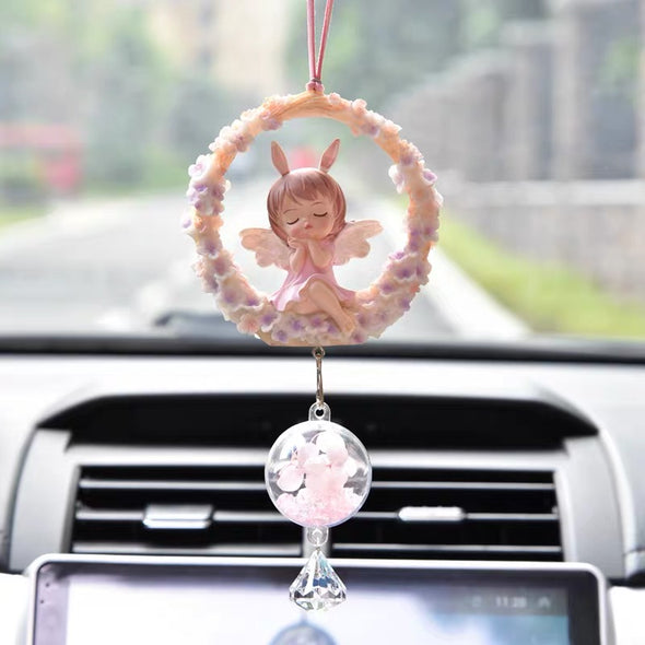 Pretty Angel Doll with Dream Catcher car charm pendant - Cute Decor for rearview mirror