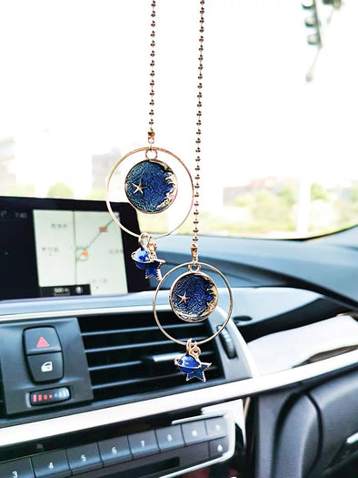 Bling car charm pendant blue universe planet stars for rearview mirror
