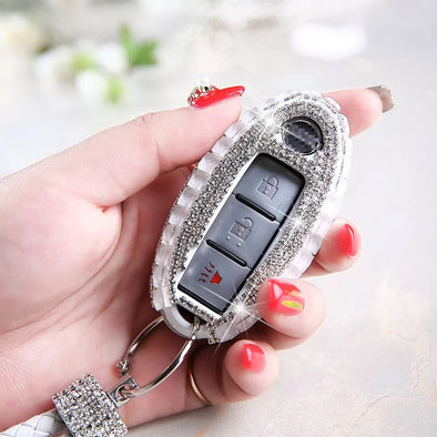 Infiniti/Nissan Bling key FOB Holder with Rhinestones Crystals - Silver