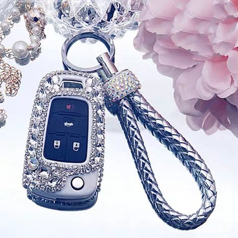 Silver Bling Car Key Holder with Rhinestones for Chevy Buick GL8