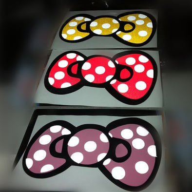 6'' Bow Car Decals Stikers - Polka dots, Red, Yellow, Blue and Pink