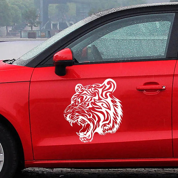 10'' Tiger Car Decals Stickers - White, black, red, yellow and blue