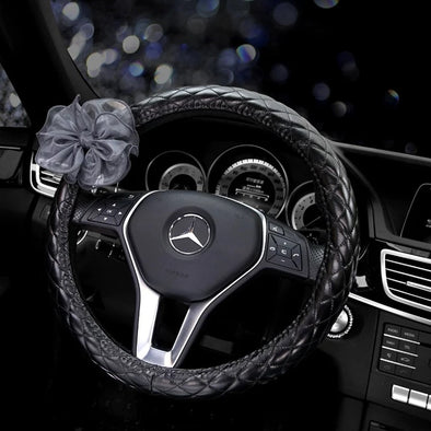 Black Leather Steering wheel cover with Lace Flower