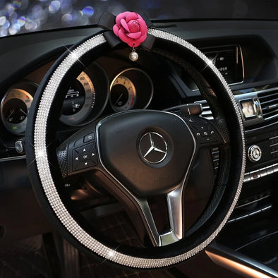 Bling Rhinestones Decorated Leather Steering wheel cover with Camellia