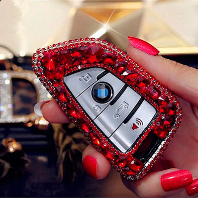 Bling Car Key Holder with Rhinestones for New BMW X5 X1 X6 525 530 730 740 Series - Red/Green