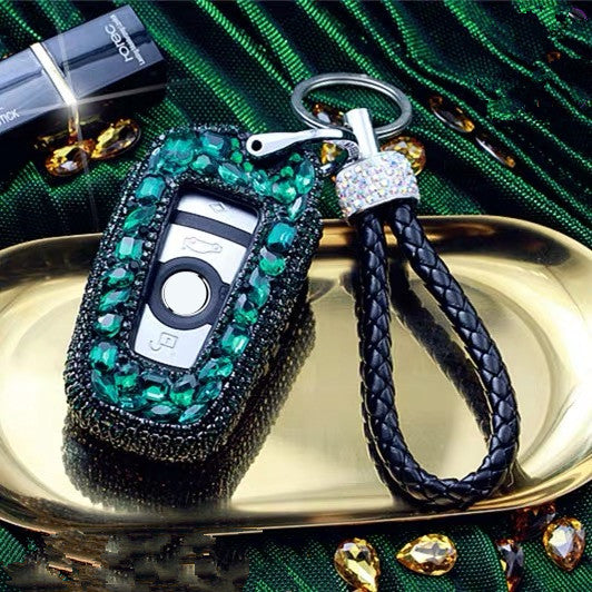 Emerald Green Bling Car Key Holder with Rhinestones for BMW