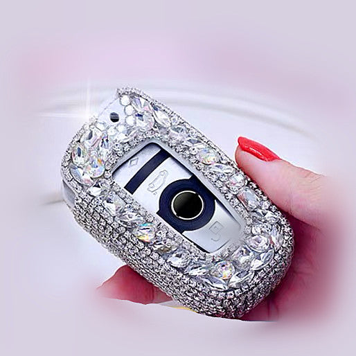 Silver Bling Car Key Holder with Rhinestones for BMW