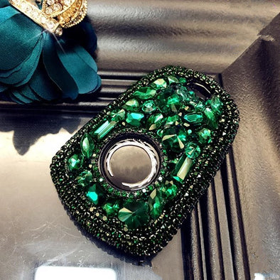 Bling Car Key Holder with Rhinestones for Cadillac ATS-L CT6 XTS XT5 CTS SRX - Emerald green