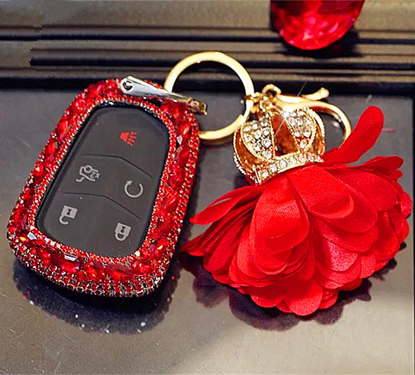 Red Bling Car Key Holder With Rhinestones For Cadillac Ats
