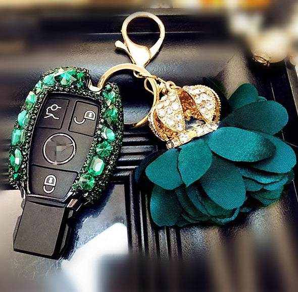 Emerald Mercedes Benz Bling Car Key Holder with Rhinestones and flowers