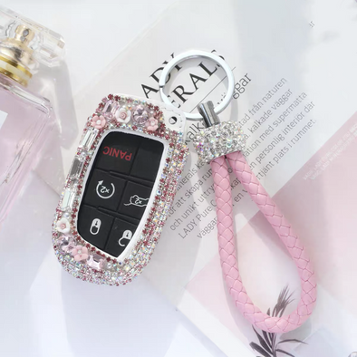 Pink Bling JEEP Dodge Key FOB Leather Cover with Rhinestones- for Cherokee Wrangler