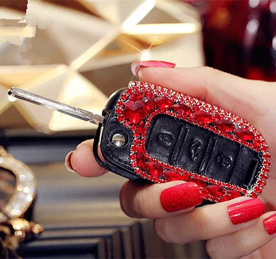 Red Bling Car Key Fob Holder With Rhinestones For Polo Passart