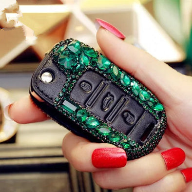 Emerald Green Bling Car Key FOB Holder with Rhinestones for POLO, passart and other VW vehicles