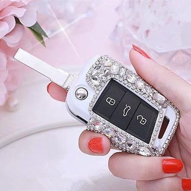 Silver Bling Car Key Holder with Rhinestones for VW Golf GTI Scoda Tiguan