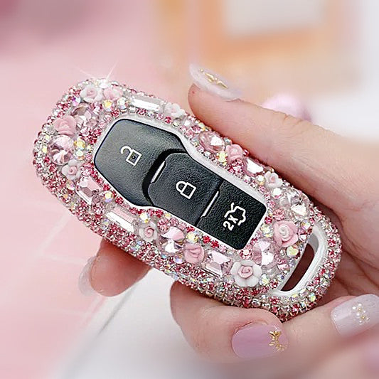 Ford Crystal Bling Car Key FOB Holder with Rhinestones - Explorer, Mondeo, Mustang and etc.