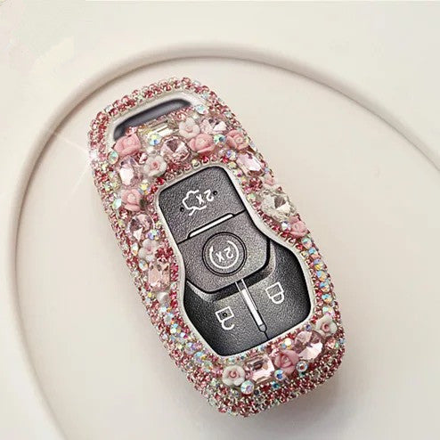 Ford Crystal Bling Car Key FOB Holder with Rhinestones - for Lincoln MKX Explorer, Mustang MCK MKZ and etc