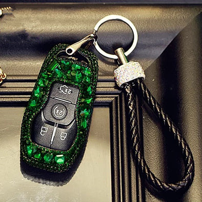 Green Emerald Lincoln MKX Explorer, Mustang  Crystal Bling Car Key FOB Holder with Rhinestones - for MCK MKZ and other Ford cars
