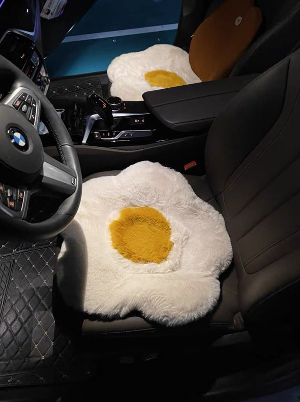 Fried Egg Car Plush Seat Cover Cushion Pad