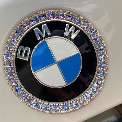 Blue Bling BMW LOGO Front or Rear Grille or Steering Wheel Emblem Rhinestone Decals with Sapphire Blue Diamonds
