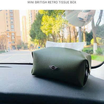Mini Cooper Tissue Holder Bag Box with vintage design
