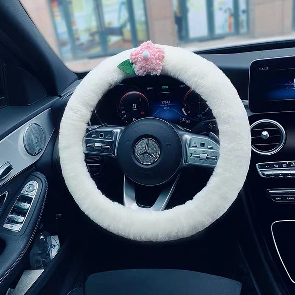 Australian Sherpa Fluffy fur White Steering wheel cover Great for Winter Warm and cozy