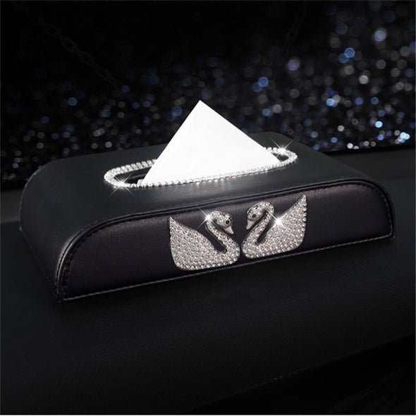 Bling Flat Car Tissue Holder Box with Swans