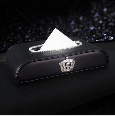 Crystal Bling Car Dashboard Flat Tissue Holder Box with Crown