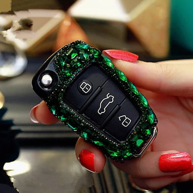 Green Emerald Bling Car Key Holder with Rhinestones for Audi Q3 tt A3 A6 A1 A4