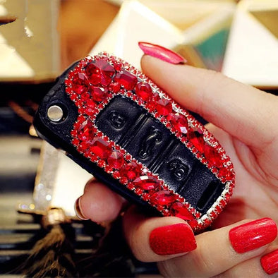 Hot Red Bling Car Key Holder with Rhinestones for Audi Q3 tt A3 A6 A1 A4