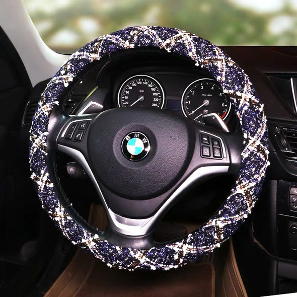 Tweed Elegant Car Accessories -Neck Pillow seatbelt cover Steering Wheel cover Rearview Mirror Center console