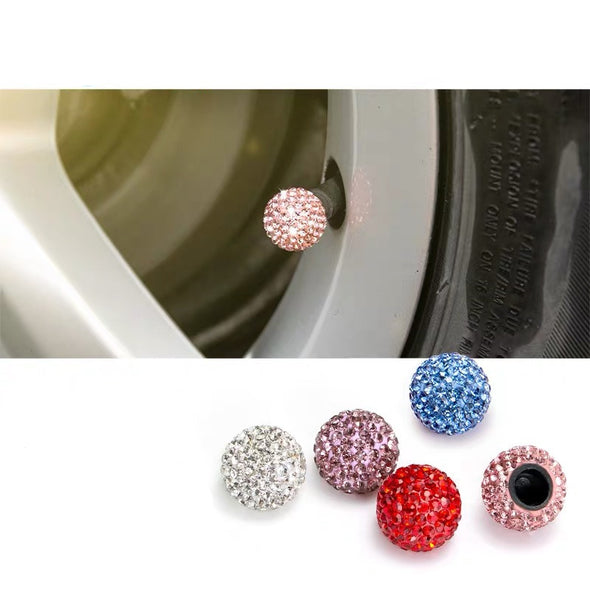 Bling Sparkling Car Wheel Air Tyre Valve Dust Caps Covers Set of 4