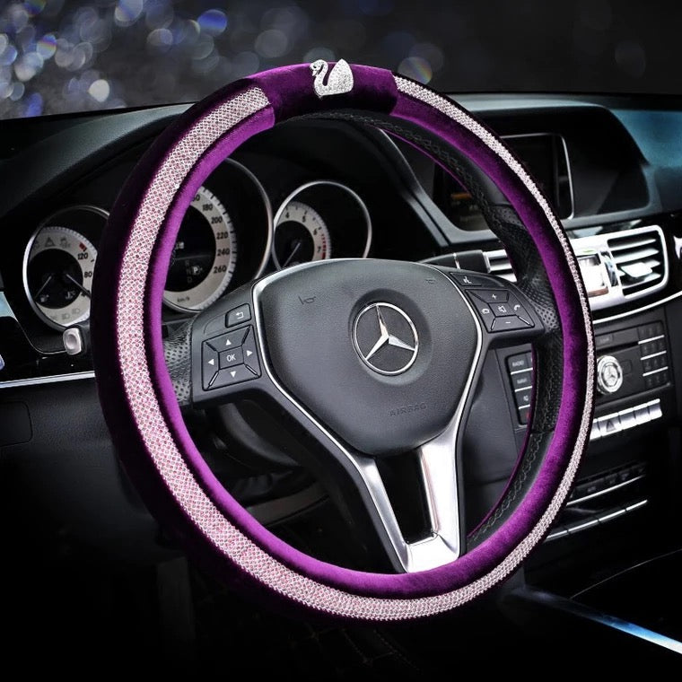 How To Unlock Steering Wheel >> Bedazzled Steering Wheel Cover with Bling Swan – Carsoda