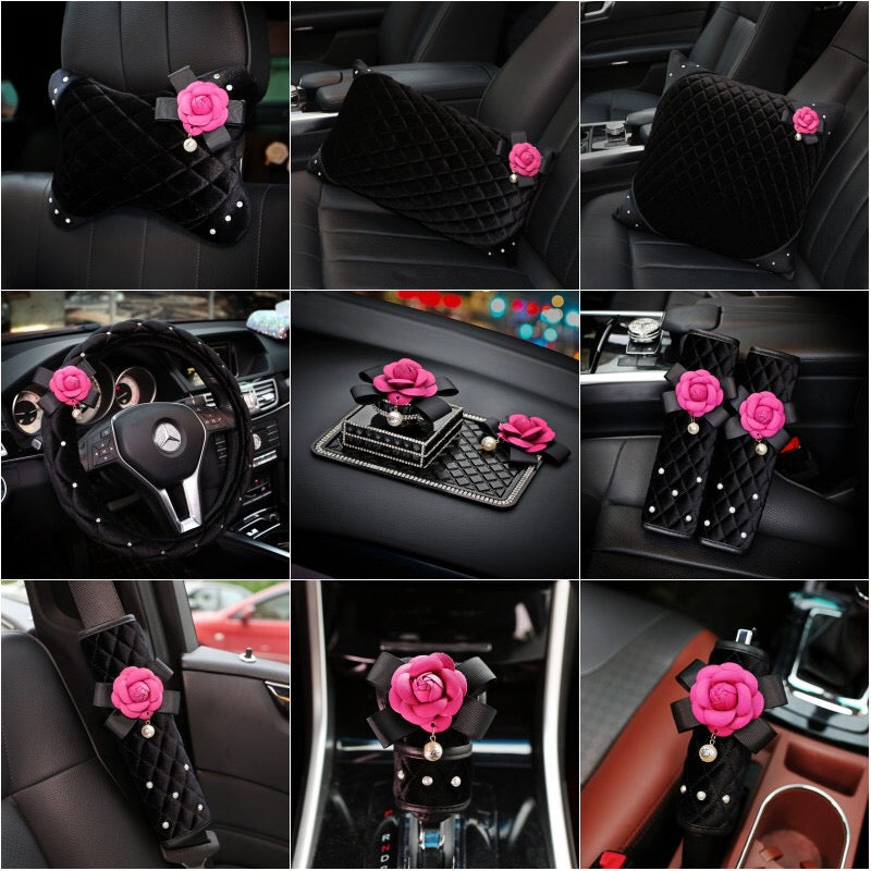 Black Velvet W Pink Camellia Car Accessories Steering Wheel Cover Seat Belt Cover Hand Brake Gear Shift Cover Pillow Cushion