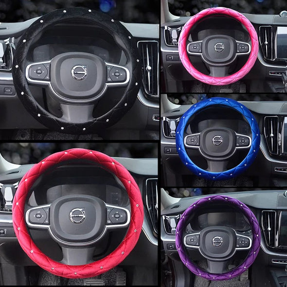 Soft Velvet Steering wheel cover with Bling Rhinestons - Five colors