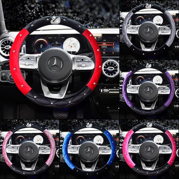 Dual Color Soft Velvet Steering wheel cover with Bling Swan - Five colors